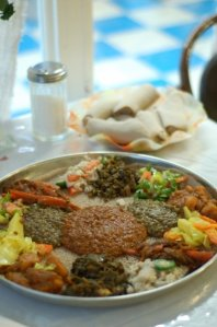 vegetarian combo from an Ethiopian restaurant